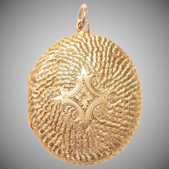 Engraved Antique 9 KT. Yellow Gold English Locket