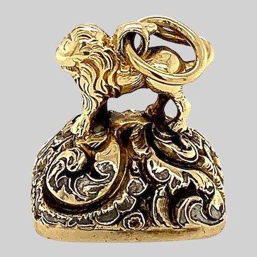 Antique 14 KT Gold Engraved Lion Fob
