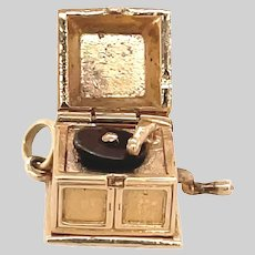 Vintage 14 KT Gold Record Player Charm / Pendant