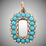 Victorian Cabochon Turquoise and 15 KT. Gold & Seed Pearl Open Oval Pendant