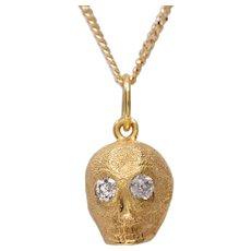Handmade 14 KT. Gold Skull with Old Euro Diamonds