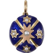 Antique Enamel Gold and Pearl Locket Pendant