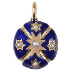 Antique Enamel Gold and Pearl Locket Pendant