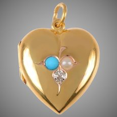 Antique 15 KT. Gold Turquoise Diamond and Pearl Heart Locket