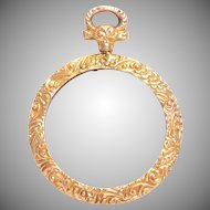 Antique Engraved Glass Front and Back Photo Locket 9 KT Gold