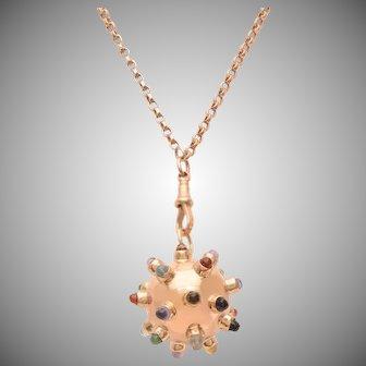 Rose Gold Sputnik Pendant with Gem Stones