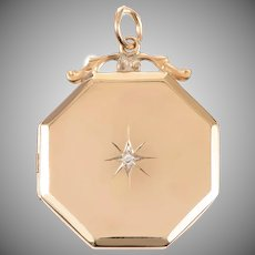Victorian 9 KT Gold Octagonal Locket with Diamond Center