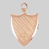 Antique Engraved 9 KT English Shield Shape Locket