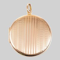 Antique 9 KT Engine Turned and Polished Yellow / Rose Gold Locket