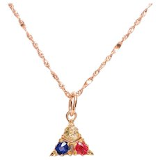 18 KT Yellow Gold Triangle Pendant with Ruby Sapphire and Diamond