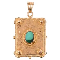 18 KT Gold and Turquoise Book Locket
