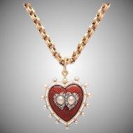 Antique Victorian Enamel Pearl and Diamond Heart Locket / Pendant