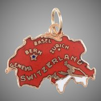 Enamel and 14 KT Gold Map of Switzerland Charm / Pendant