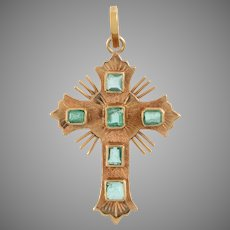 Vintage 18 KT Gold and Emerald Cross Pendant