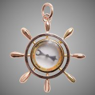Antique Ships Wheel and Compass Pendant in 10 KT Gold