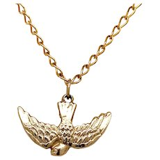 Vintage 14 KT Gold Swallow Charm