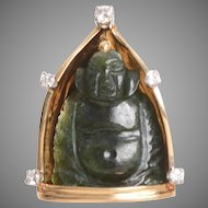 Custom Jade and Diamond Buddha Pendant set in 14 KT Gold