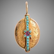 Victorian Turquoise Ruby and 14 KT Gold Locket
