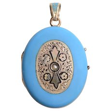 Enamel Gold and Pearl Locket