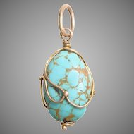 Natural Turquoise Pendant in a 14 KT Gold Wire Setting