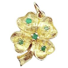 14 KT Gold and Emerald Clover Pendant / Charm