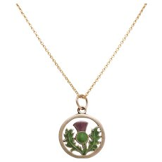 Scottish Enamel Thistle Pendant / Charm