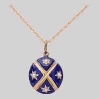 Enamel Gold and Pearl Pendant / Locket