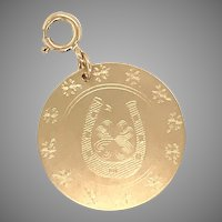 14 KT Gold Horseshoe and Clover Medallion