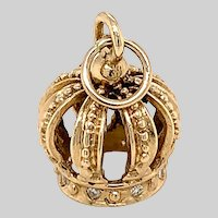 Diamond and 14 KT Gold Crown Charm / Pendant