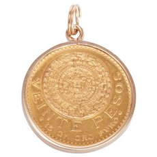 Solid 22 KT Gold Mexican Peso Coin Necklace