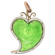 Antique Guilloche Enamel and 18KT Gold Heart Locket