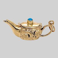 Vintage 14 KT Genie Lamp with Turquoise