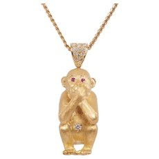 Retro 18 KT Gold and Diamond Monkey Pendant
