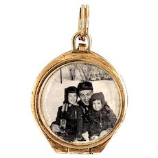 Antique Double Sided Crystal qnd 14 KT Gold Locket