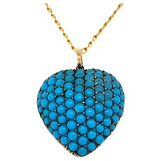 Antique Turquoise Heart Locket