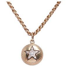 Vintage Diamond Enamel and 14 KT  Gold Star Pendant