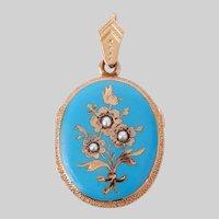 Antique Robins Egg Blue Enamel and Pearl 14 KT Gold Locket (Reserved)