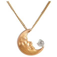 Vintage 18 KT and Diamond Man in the Moon Pendant