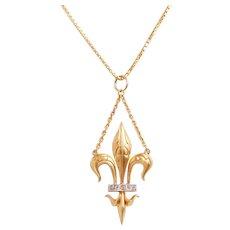 Antique Fleur De Lys 15 KT Gold and Diamond Pendant