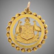 9 KT Gold Australian Coat of Arms Medallion