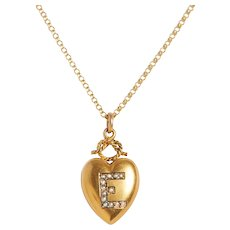 Antique 15 KT and Seed Pearl Puffed Heart Pendant