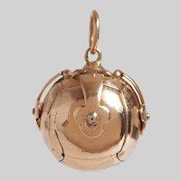 Antique Masonic Orb Pendant 9 KT Gold