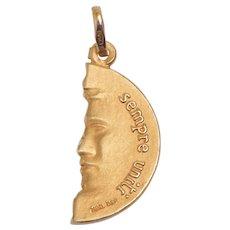 Vintage 18 KT Half Coin Divisi Ma Sempre Uniti Pendant