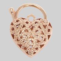 Vintage Pierced 9KT Gold Heart Padlock Pendant