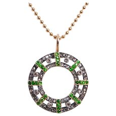 Antique Tsavorite Garnet & Diamond Pendant