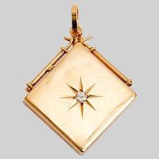 Antique 14 KT Gold and Diamond Locket