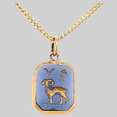 Vintage Aries The Ram Pendant set in 18KT Gold