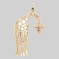 Charming 14KT Pierced Giraffe Pendant