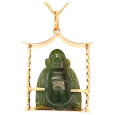 Vintage Carved Buddha in a 14KT Pagoda Frame Pendant