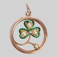 Antique 3 Leaf Clover Enamel and Pearl Pendant